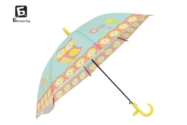 Детски чадър жълт с бухалчета
