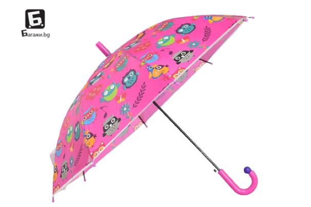 Детски чадър розов с бухалчета