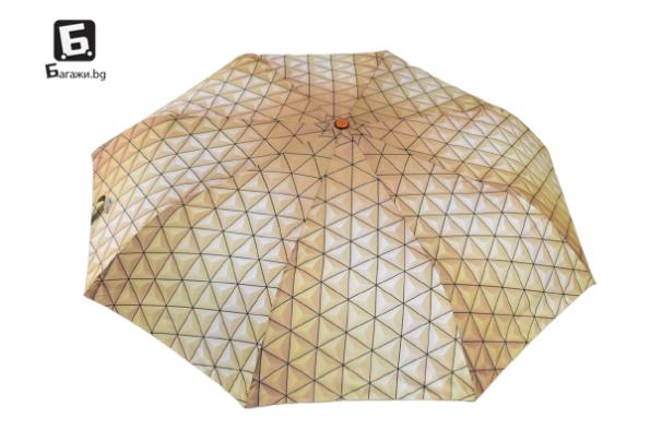 Полуавтоматичен сгъваем чадър- жълт