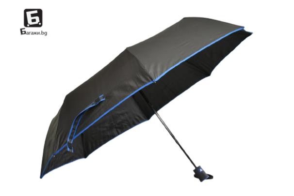 Полуавтоматичен сгъваем чадър- черен със синьо