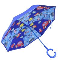 Ветроупорен детски чадър син с кола