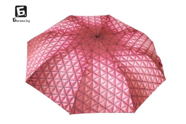 Полуавтоматичен сгъваем чадър- червен