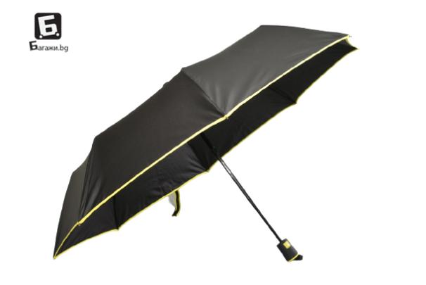 Полуавтоматичен сгъваем чадър- черен с жълто