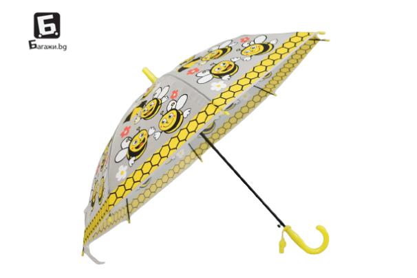 Детски чадър прозрачен с пчелички