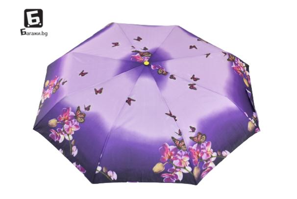 Автоматичен сгъваем чадър- лилав