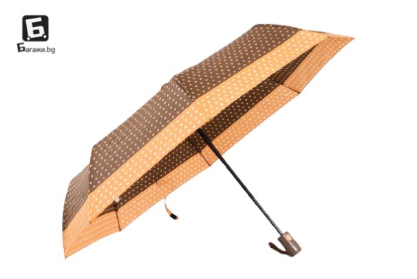 Автоматичен дамски чадър- кафяв