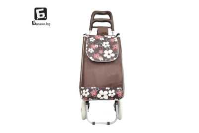 Кафява пазарска количка с цветя