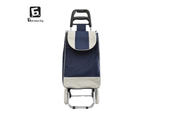 Тъмно синя пазарска количка