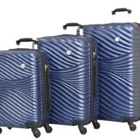 Релефни твърди куфари в три размера- сини код: 2050