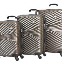 Релефни твърди куфари в три размера- кафяви код: 2050