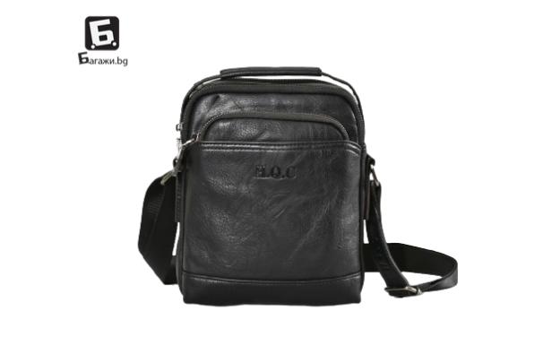 Черна мъжка кожена чанта H.Q.C