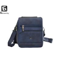 Малка мъжка кожена чанта- синя